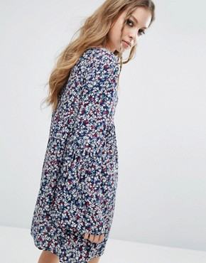 photo Vintage Smock Dress In Floral by Milk It, color Blue - Image 2
