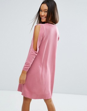 photo Dress in Knit with Cold Shoulder Detail by ASOS, color Pink - Image 2