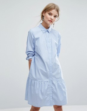 photo Inesa Dress Frill Hem Shirt Dress by Gestuz, color Kentucky Blue - Image 1