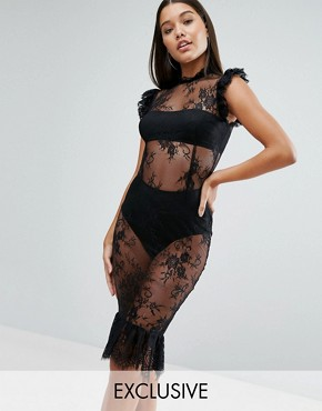 photo High Neck Lace Midi Dress with Pephem by NaaNaa, color Black - Image 1