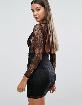 photo Mini Dress with Lace Applique by NaaNaa, color Black - Image 2