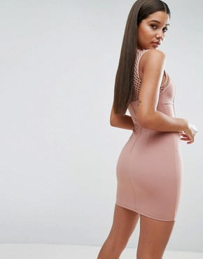 photo Mini Dress with Corset Detail by NaaNaa, color Taupe - Image 2