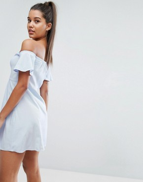 photo Off Shoulder Pinstripe Mini Dress with Lace Up Front by NaaNaa, color Oxford Blue - Image 2