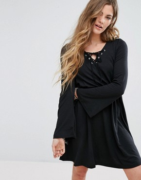 photo Lace Up Front Swing Dress by Glamorous, color Black - Image 1