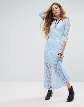 photo Embroidered Maxi Dress by Glamorous, color Dusty Blue - Image 1