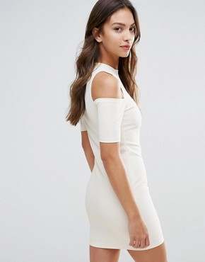 photo Cut Out Shoulder Bodycon Dress by Glamorous, color Cream - Image 2