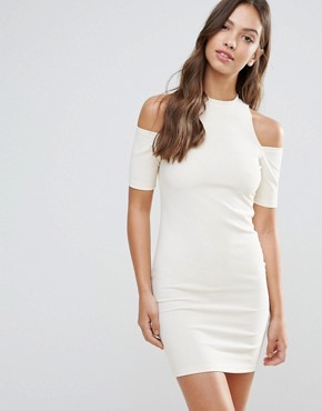 photo Cut Out Shoulder Bodycon Dress by Glamorous, color Cream - Image 1