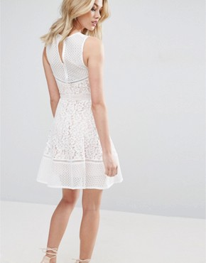 photo Lace Skater Dress by Glamorous, color White - Image 2