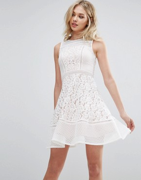 photo Lace Skater Dress by Glamorous, color White - Image 1