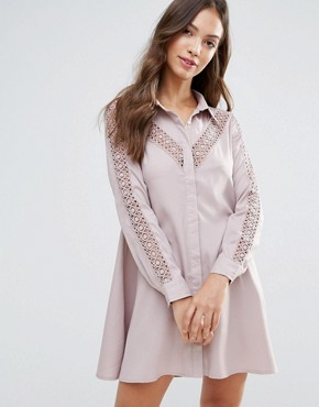 photo Shirt Dress by Glamorous, color Dusty Lilac - Image 1