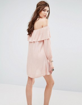 photo Off Shoulder Dress by Glamorous, color Nudey Pink - Image 2
