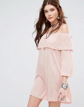 photo Off Shoulder Dress by Glamorous, color Nudey Pink - Image 1