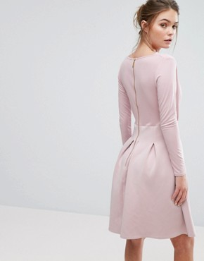 photo Bonded Scuba Skater Dress With Box Pleats by Closet London, color Dusty Pink - Image 2