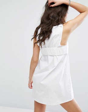 photo Broderie Bralet Overlay Shift Dress by Missguided, color White - Image 2
