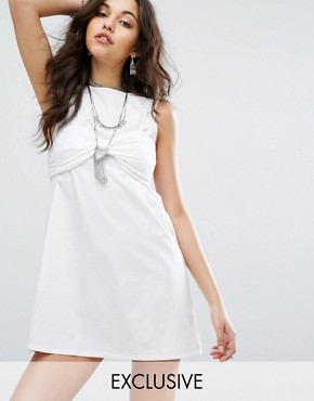 photo Broderie Bralet Overlay Shift Dress by Missguided, color White - Image 1