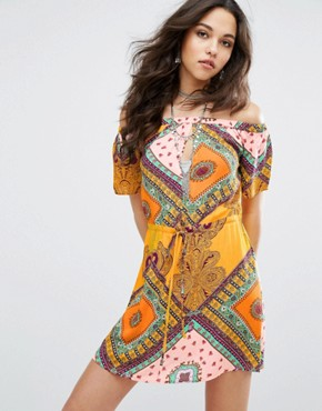 photo Patchwork Print Bardot Swing Dress by Missguided, color Yellow - Image 1