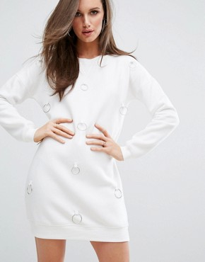 photo Ring Detail Jumper Dress by Missguided, color Cream - Image 1