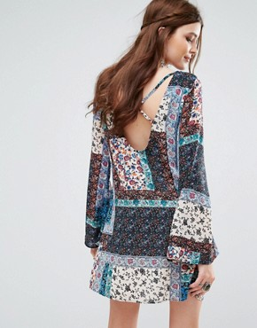 photo Patchwork Paisley Print Swing Dress by Missguided, color Blue - Image 2