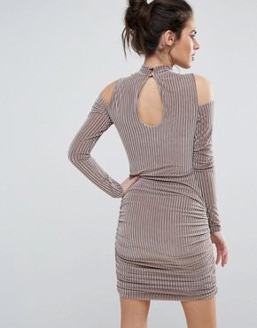 photo Ribbed Velvet Mini Dress with Cold Shoulder by Club L, color Nude - Image 2