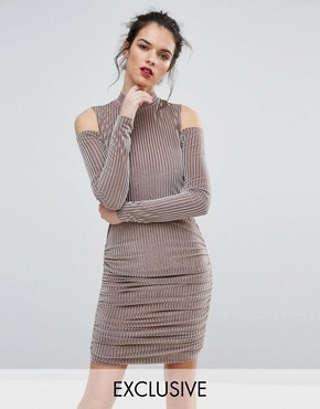 photo Ribbed Velvet Mini Dress with Cold Shoulder by Club L, color Nude - Image 1