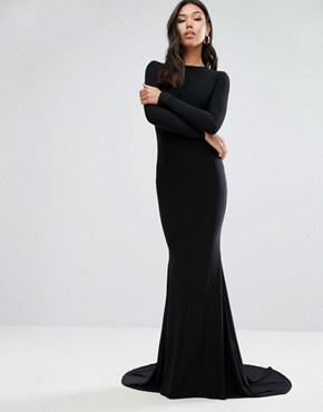 photo Open Back Maxi Dress with Fishtail by Club L, color Black - Image 2