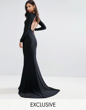 photo Open Back Maxi Dress with Fishtail by Club L, color Black - Image 1