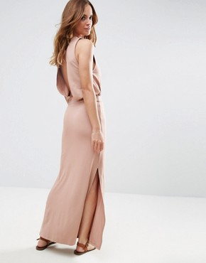 photo Drop Armhole Casual Maxi Dress by ASOS, color Nude - Image 2