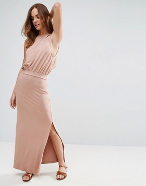 photo Drop Armhole Casual Maxi Dress by ASOS, color Nude - Image 1