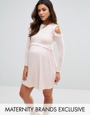 photo Cold Shoulder Frill Jersey Dress by Missguided Maternity, color Pink - Image 1