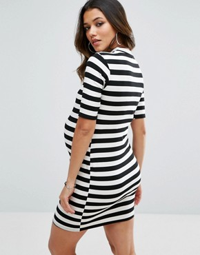 photo High Neck Striped Day Dress by Missguided Maternity, color Ecru - Image 2
