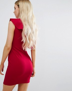 photo Ruffle One Shoulder Dress by Missguided Petite, color Red - Image 2