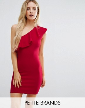 photo Ruffle One Shoulder Dress by Missguided Petite, color Red - Image 1
