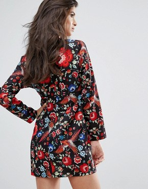 photo Floral Print Plunge Dress by Missguided Petite, color  - Image 2