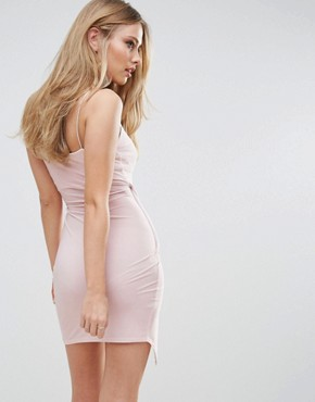 photo Cami Wrap Asymetric Mini Dress by Club L, color Lilac Pink - Image 2