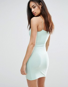 photo Cami Wrap Asymetric Mini Dress by Club L, color Green - Image 2