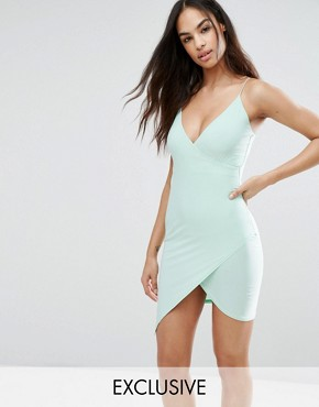 photo Cami Wrap Asymetric Mini Dress by Club L, color Green - Image 1