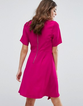 photo Drape Front Mini Dress by New Look, color Bright Pink - Image 2