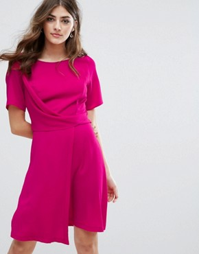 photo Drape Front Mini Dress by New Look, color Bright Pink - Image 1