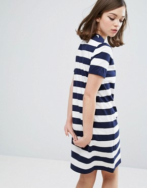 photo Archive Striped T-shirt Dress by Fred Perry, color Navy - Image 2