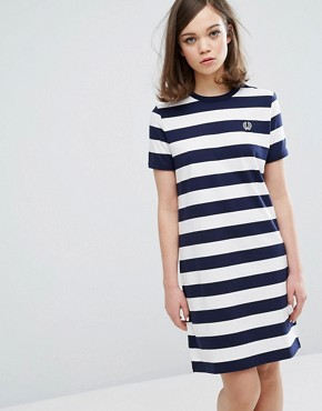 photo Archive Striped T-shirt Dress by Fred Perry, color Navy - Image 1