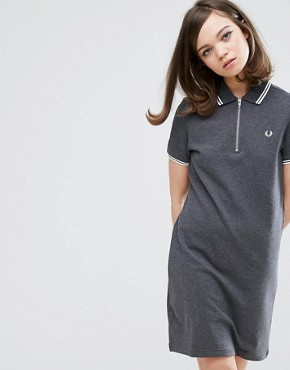 photo Authentic Twin Tipped Zip Neck Dress by Fred Perry, color Grey - Image 1