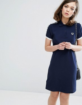 photo Archive Taped Polo Shirt Dress by Fred Perry, color Carbon Blue - Image 1