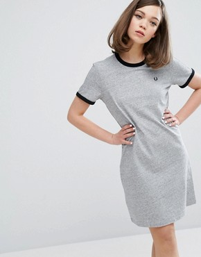 photo Authentic Ringer T Shirt Dress by Fred Perry, color Grey - Image 1