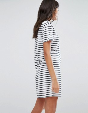photo T-Shirt Dress in Stripe With Bad Luck Embroidery by Daisy Street, color White - Image 2