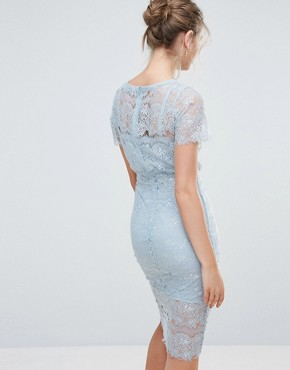 photo Bodycon Lace Midi Dress with Cape Sleeve and Lace Trim by Body Frock, color Light Blue - Image 2