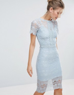 photo Bodycon Lace Midi Dress with Cape Sleeve and Lace Trim by Body Frock, color Light Blue - Image 1
