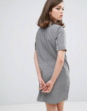 photo Authentic Gingham Shirt Dress by Fred Perry, color Black - Image 2