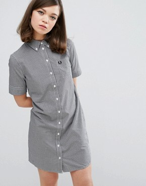 photo Authentic Gingham Shirt Dress by Fred Perry, color Black - Image 1