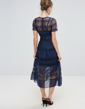 photo Cap Sleeve Midi Dress with Border Lace by Body Frock, color Navy - Image 2