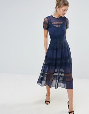 photo Cap Sleeve Midi Dress with Border Lace by Body Frock, color Navy - Image 1